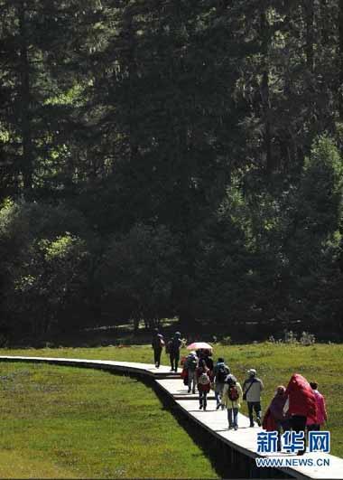 9月28日,游客在普达措国家公园游览.-香格里拉普达措国家公园秋色